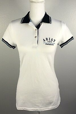 ARIAT Women's Blue White Equestrian Riding Stretch Polo Shirt, Size M