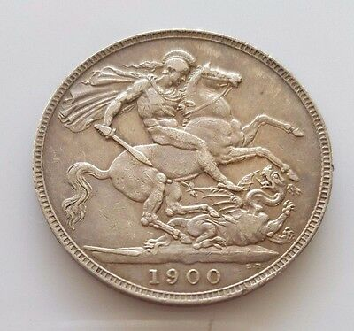 1900 LXIV Victoria St. George Great Britain Crown KM# 783-NICE VF-XF Coin
