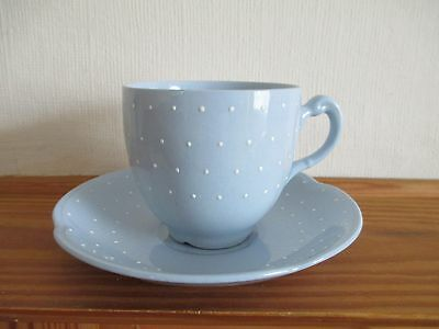 Grays Pottery Blue & White Polka Dot Cup And Saucer