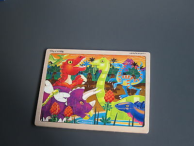 Hand made children's wooden puzzle. Dinosaurs.  Made in UK
