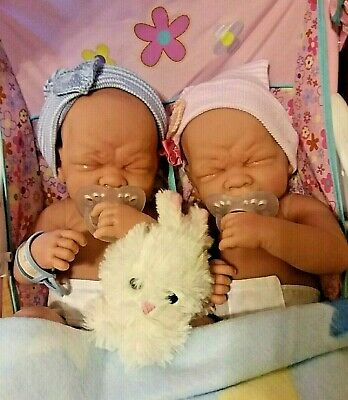 Precious Preemie Twins  Boy And Girl  Realistic Babies  Have Pacifiers .