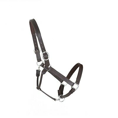 Quality Horse Soft Padded Double Strength Leather Headcollar Halter Brown Full