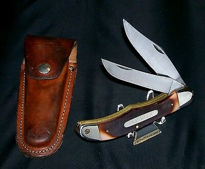 "Schrade 25OT Knife & Sheath 1970s Old Timer Folding Bowie 5-1/4"" Brilliant Rare"