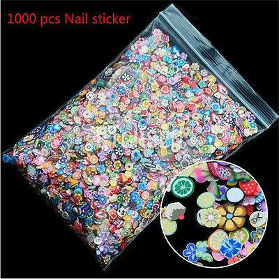 1000PCS 3D Fruit Fimo Slice Clay DIY Nail Art Tip Sticker Decoration FT