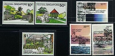 SINGAPORE SC292~4 +333~5 (6) 2 Sets, 1978, 79, Parks and Gardens.  MNH $7