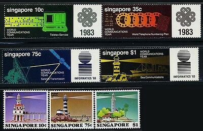SINGAPORE SC397~9+ 430~3(7)2 Sets, 1983, 97, Light House, Commnication. MNH $8