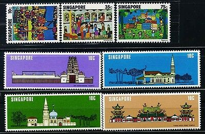 SINGAPORE SC285~7+299~302 (7) 2 Sets, 1977, 78  Bus Stop, Temples. MNH $7