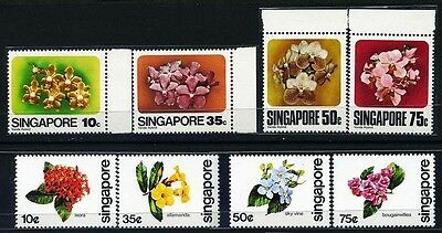 SINGAPORE SC319~22,+ 363~6 (8) 2 Sets, 1979, 80, Flowers, MNH $7
