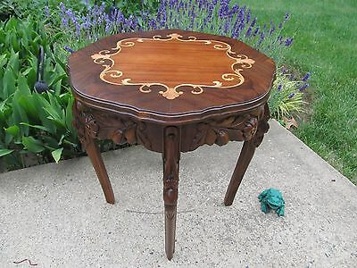Antique French Walnut Carved Inlay Wood Side Table (Restored)
