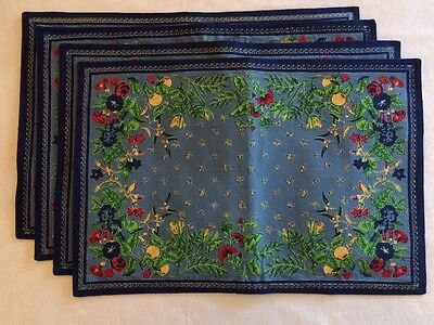 Set of 4 Williams Sonoma Provence Placemats Blue Green Red Floral, Butterfly