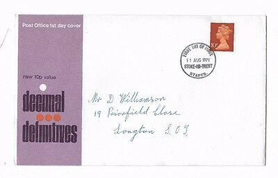 QEII 1971 DECIMAL DEFINITIVES 10p STAMP ON ADDRESSED FIRST DAY COVER