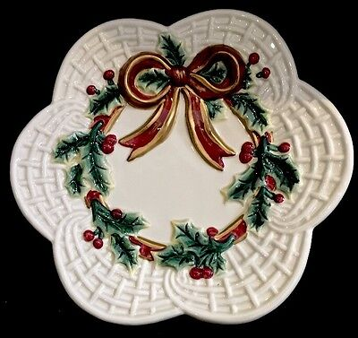 Fitz and Floyd Holiday Wreath Promo Canape Plate with Original Box