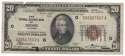 1929 $20 National Banknotes Federal Reserve Bank Of Chicago, Illinois