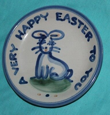 M.A.Hadley Art Pottery EASTER Bunny COASTER Plate Dish Louisville KY  signed