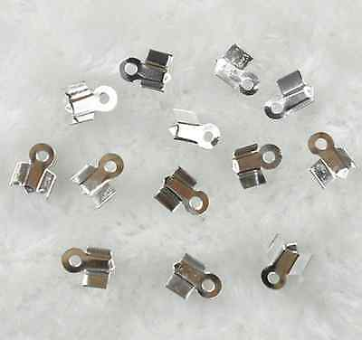 200Pcs Silver Plated Folding Crimp Connector End Beads 8mm