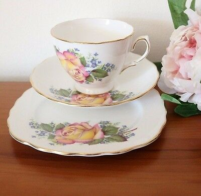 CROWN ROYAL CHINA Beautiful Rose & Forget-Me-Nots CUP SAUCER PLATE Trio TEA SET