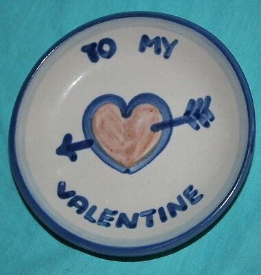 M.A.Hadley Art Pottery VALENTINE Heart COASTER Plate Louisville KY signed