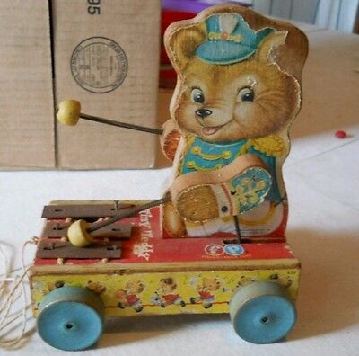 "Fisher Price Vintage early 1960's ""Tiny Teddy""  Child's pull toy"