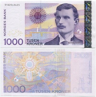Norway 1000 Kroner 2001 UNC P-52a, scarce date