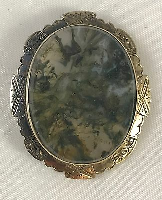 Victorian Moss Agate Brooch In Gilt Silver Mount Antique