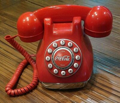 Collectible Coca Cola Corded Desk Phone Red Push Button