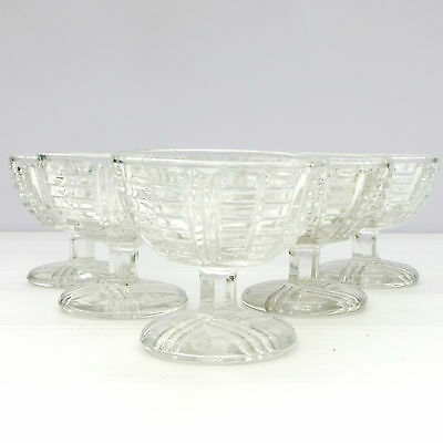 Vintage Retro Glass Sundae Sorbet Ice-Cream Dessert Dishes Set 5