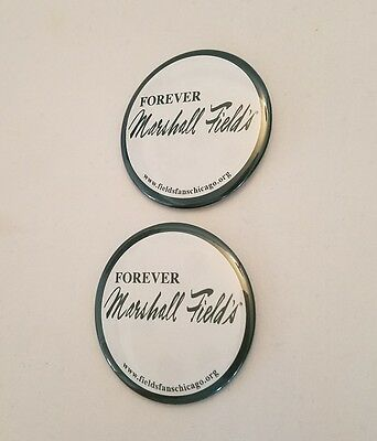 """2"""" Classic Chicago Marshall Fields Button Pin Logo Badge Lot of (2)"""