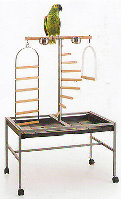 Large Wrought Iron Parrot Bird Play Stand Play Gym Ground W/Rolling Stand -259