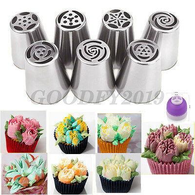 7Pcs Russian Hot Flower Icing Piping Nozzles Tips Pastry Cake DIY Baking Tool