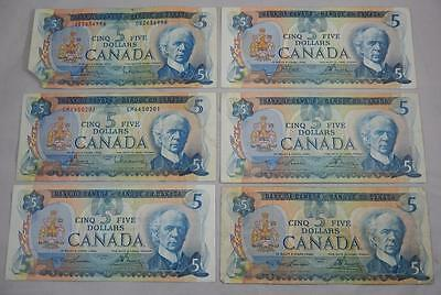 Bank of Canada Series 1972 & 1979 $5 Five Dollar Note Lot of 6 $30 Face P0057