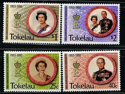 TOKELAU GB, SC186~89 Set, 1993 40th of E2R Coronation MNH $7
