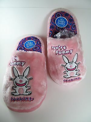 Funny Bunny Pink Slippers Large 9-10 Pink Fuzzy You're Funny Looking Happy Jim B