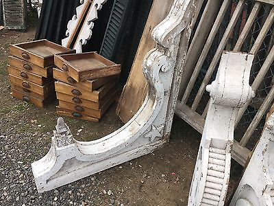 "Huge fancy Victorian gingerbread corbel bracket - unique finial detail 41"" x 36"""