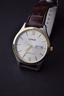 Mens Lorus Day-Date Quartz Watch with New Brown Leather Strap.