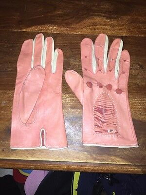 vintage womens pink lamb nappa leather driving gloves circa 1960s size 7