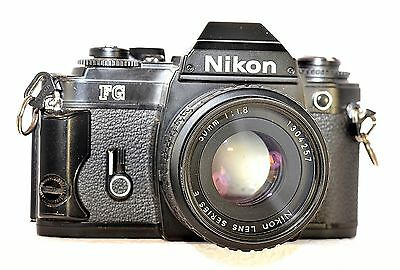 Nikon FG Vintage film camera with 50mm series E lens.