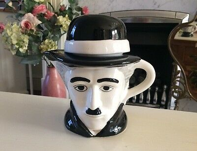 Vintage Black & White Charlie Chaplin Teapot ( Ornamental Display Item Only)