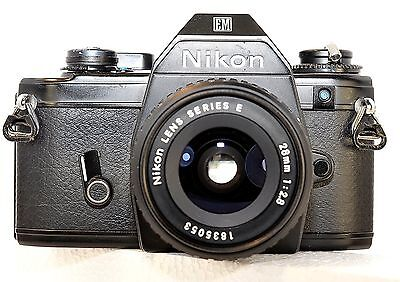 Nikon EM vintage 35mm film camera with series E 28mm lens