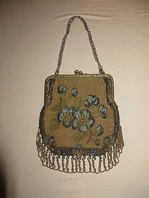 Vintage Steel Beaded French Fringed Purse with Flowers