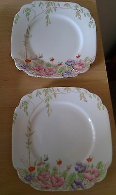 2 square plates by standard china -1916-1930