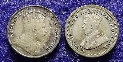 1910 & 1926 Straits Settlements 5 Cents - 2 Silver Coins, KM# 20a, 36 (#1042)