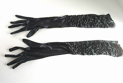 Adult Womens Black Lycra Elbow Length Long Opera Gloves Costume Accessory