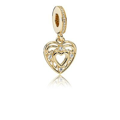 New Authentic Pandora 751001CZ Romantic Heart, Clear CZ 14K Gold Charm