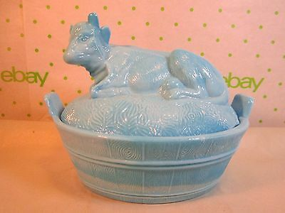 """Heisey Glass Blue Milk Glass Cow on Nest Covered Candy Dish 5x4"""""""