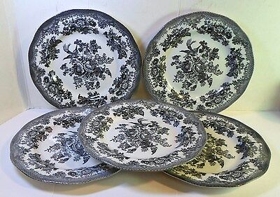 """Johnson Bros ASIATIC PHEASANT 8"""" SALAD PLATES In BLACK Made In England Set of 5"""