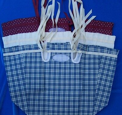 3 Basket Liners for Fellowship Basket Maroon dotted Blue plaid Unbleached Muslin