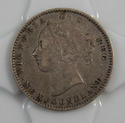 Canada Newfoundland 1888 10 Ten Cents Sterling Silver Key Date Coin C0402