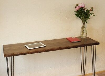 Rustic Vintage Industrial Wood Console Table Desk Metal Hairpin Legs