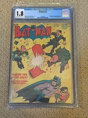 Batman 18 CGC 1.8 OW/White Pages- Hitler Cover