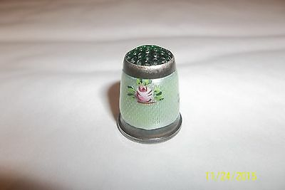 Antique Vintage Sterling Silver Germany # 7 Flower Enamel Thimble